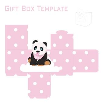 女の赤ちゃんパンダギフトボックス用のテンプレート