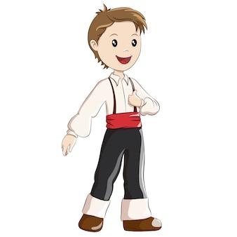 スペインの伝統的な衣装に身を包んだ少年