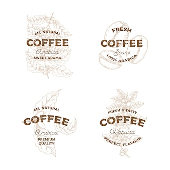 コーヒー。ヴィンテージ手描きロゴのセット。植物エンブレム。スケッチスタイル。