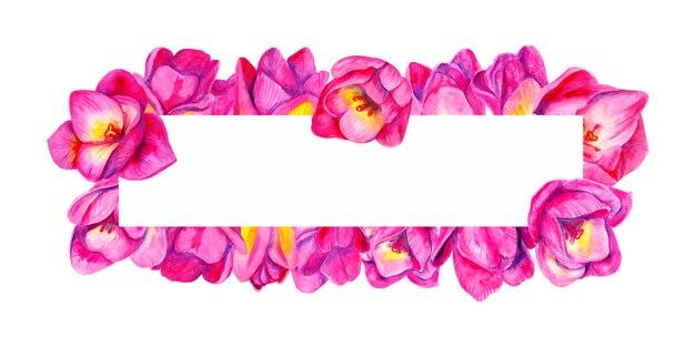 Акварель розовые тюльпаны цветы. красивая цветочная композиция. свадебные украшения. ботаническая рама.