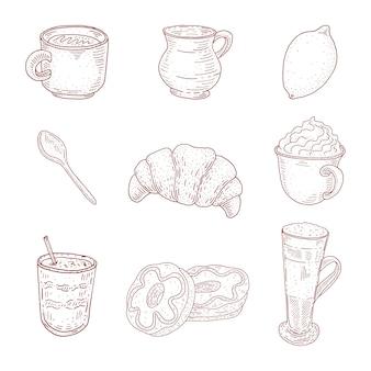 ビンテージコーヒーコレクション。スケッチスタイルの食べ物イラスト。デザートと飲み物