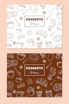 ビンテージデザートメニュー。スケッチスタイルの食べ物イラスト。カフェの背景。