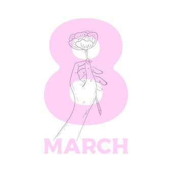 バラを持っている手。ジェスチャーの図が分離されました。女性の日の概念。