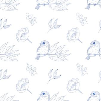 Картина винтажной весны безшовная с милой птицей и заводами.