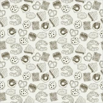 手描きのパン製品パターン