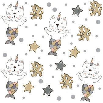 Веселая волшебная кошка-единорог и русалка бесшовный фон