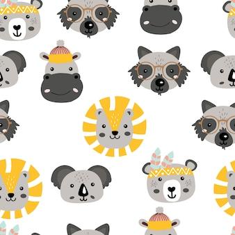 かわいい動物の頭のシームレスパターン