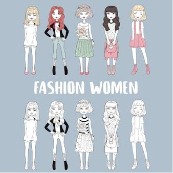 スタイリッシュな女性ファッションモデル