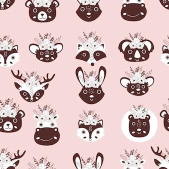 かわいい動物のシームレスパターン
