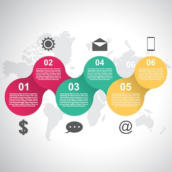 Цепочка подключен круг абстрактный бизнес инфографики шаблон
