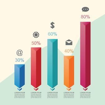 棒グラフグラフ図統計ビジネスインフォグラフィックイラストテンプレート