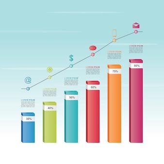 棒グラフグラフ図統計事業インフォグラフィックテンプレート図