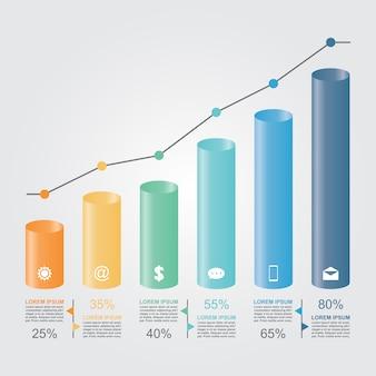Гистограмма график диаграмма статистический бизнес инфографики шаблон иллюстрация