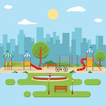 子供の遊び場で遊ぶ夏のシティパーク