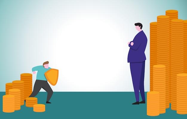 Мужество деловой человек с щитом готов уверен, обращаясь к большому финансисту