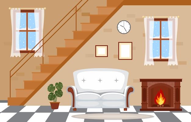 暖炉のあるリビングルームファミリーハウスのインテリア家具のベクトルイラスト