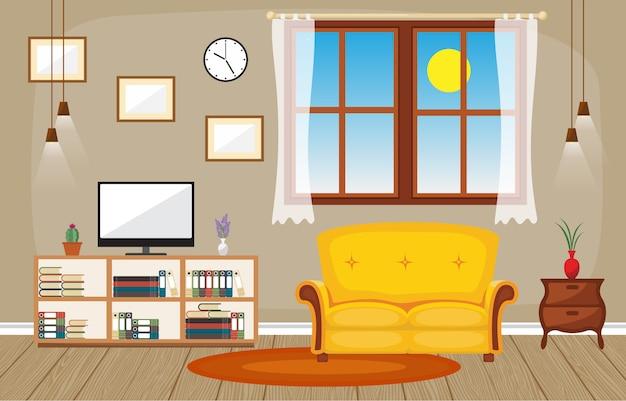 モダンなリビングルームファミリーハウスのインテリア家具のベクトルイラスト