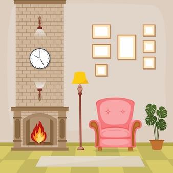 Камин гостиная семейный дом интерьер мебель векторные иллюстрации