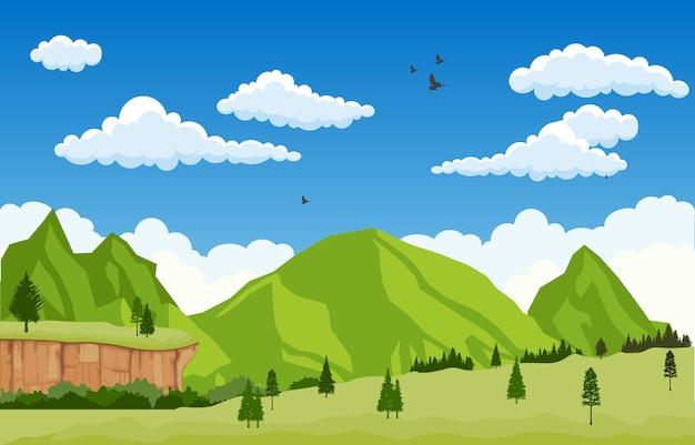 Горная долина клифф дерево природа пейзаж векторные иллюстрации