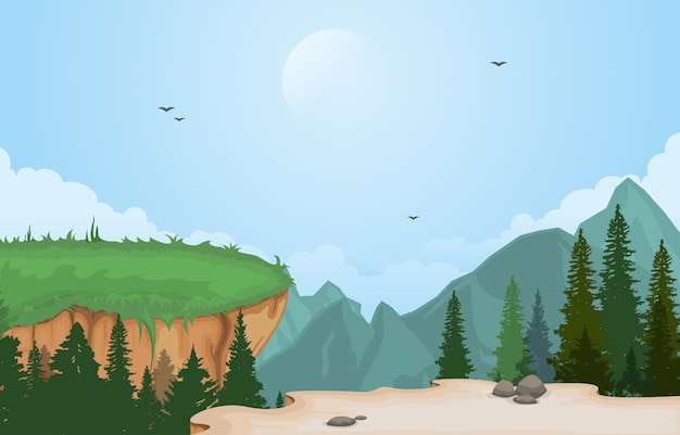 マウンテンバレーの崖の木自然風景ベクトルイラスト