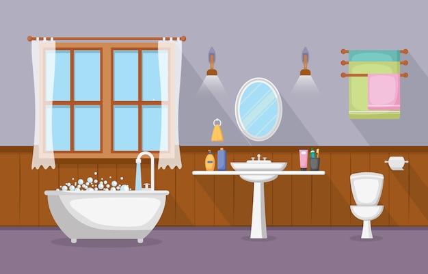 クラシックバスルームインテリアクリーンルーム木製アクセント家具フラットデザイン