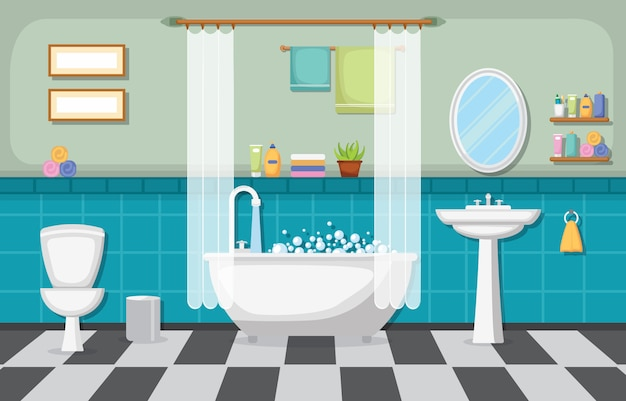 Классический интерьер ванной комнаты чистая комната деревянный акцент мебель плоский дизайн