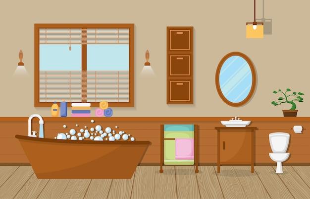 Жилая меблированная ванная комната