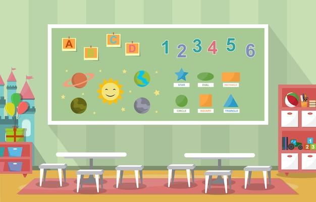 幼稚園の教室の内部の子供の子供の学校のおもちゃの家具