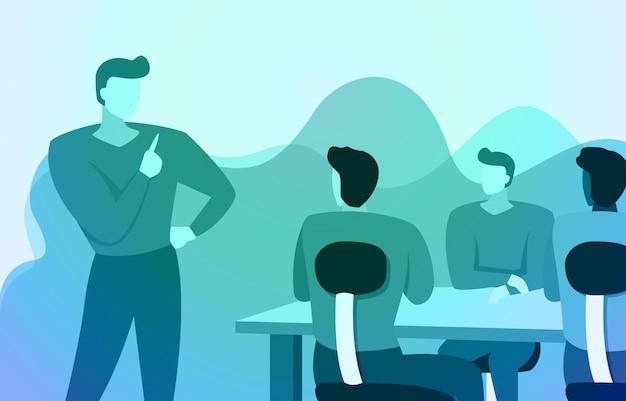 リーダーマネージャースタンドは、オフィスのイラストで作業チームにビジネスの指示を与えます