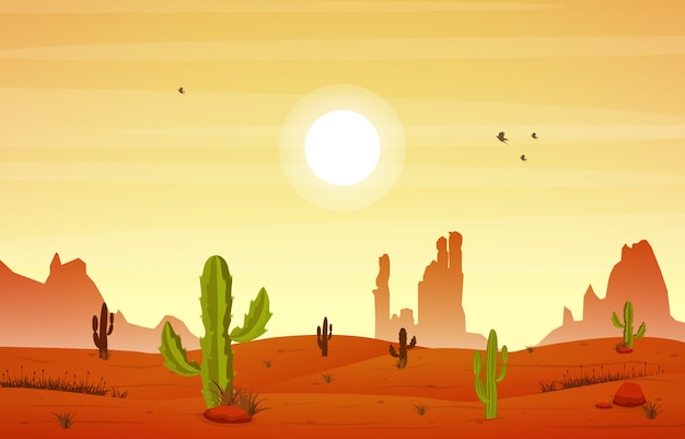 スカイロッククリフマウンテンイラストの美しい西部の砂漠の風景