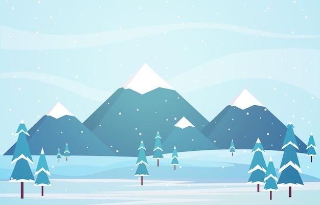 松の木の山と冬景色の雪の風景