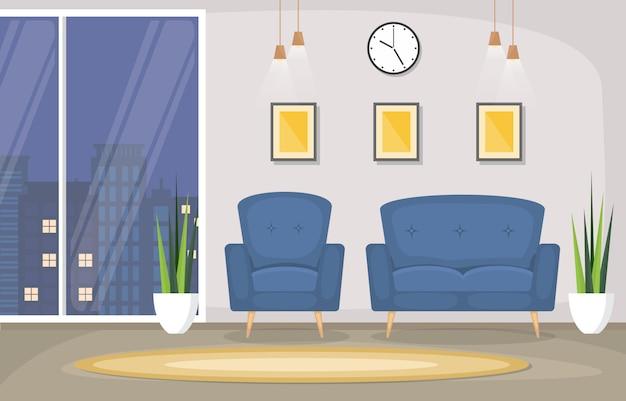 Роскошная роскошная гостиная пентхаус, квартира, интерьер, мебель