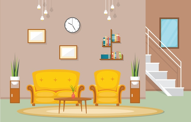 豪華なデラックスリビングルームペントハウスアパートメントインテリア家具