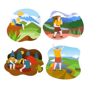 Турист человек на вершине горы красивый вид плоский дизайн иллюстрация
