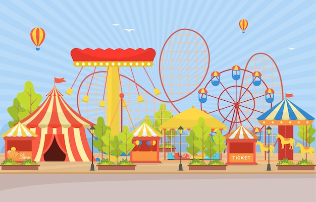 花火の風景とサーカスカーニバルフェスティバルファンフェア