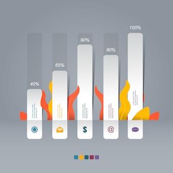 Гистограмма диаграмма диаграмма статистические бизнес инфографики иллюстрация с природой листьев