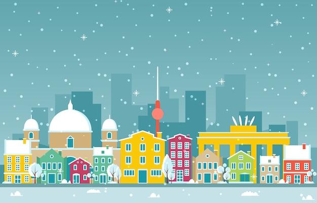 ベルリン市の都市景観のスカイラインのランドマークの建物図の冬の雪