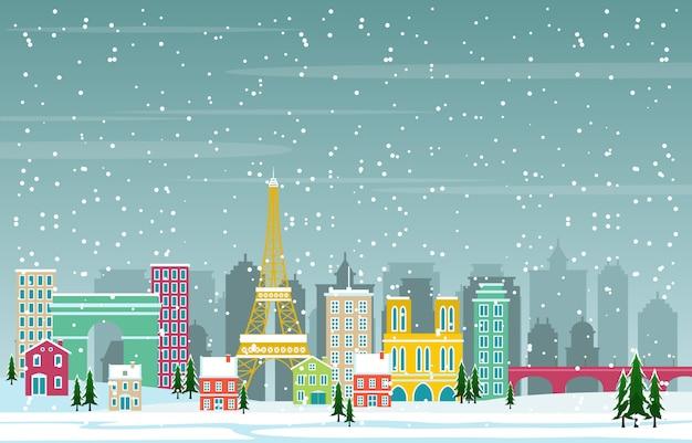 パリ市の都市景観のスカイラインのランドマークの建物図の冬の雪