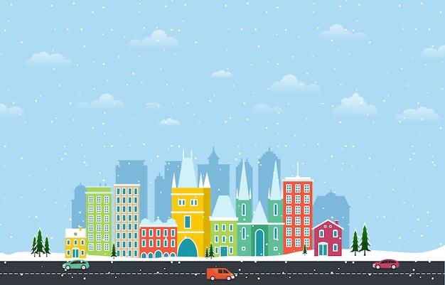 プラハ市の都市景観図の冬の雪