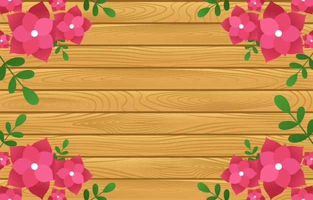 木の板に夏春咲く花自然フレーム