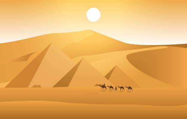 エジプトのピラミッド砂漠アラビア風景イラストを横切るラクダのキャラバン