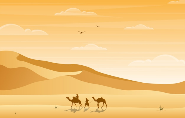 ラクダライダー交差砂漠の丘のアラビアの風景イラスト