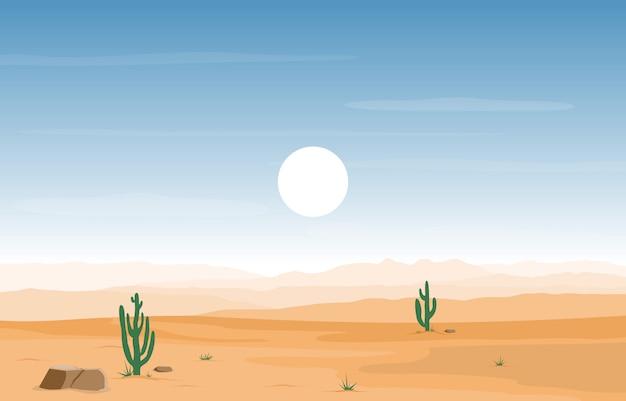 サボテン地平線の風景イラストと広大な西アメリカ砂漠の日