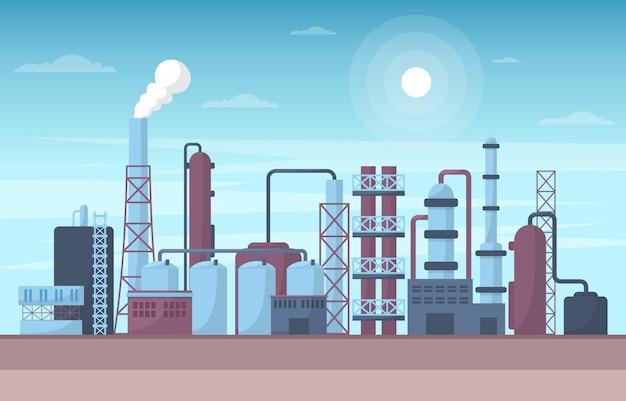 Промышленная фабрика концепция производство строительство объекты площадь пейзаж плоский иллюстрация