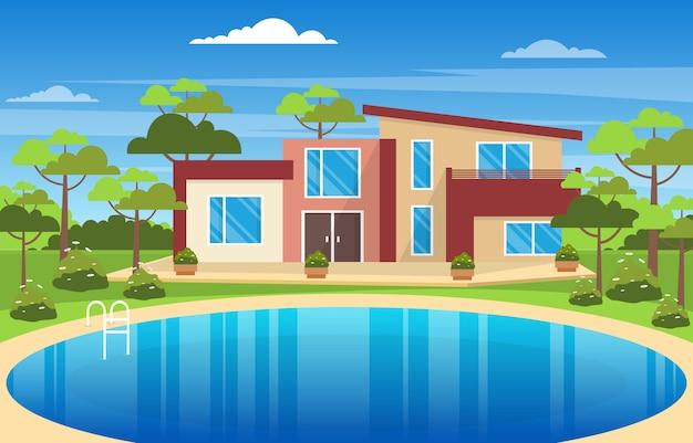 Современный дом вилла экстерьер с бассейном на заднем дворе иллюстрация