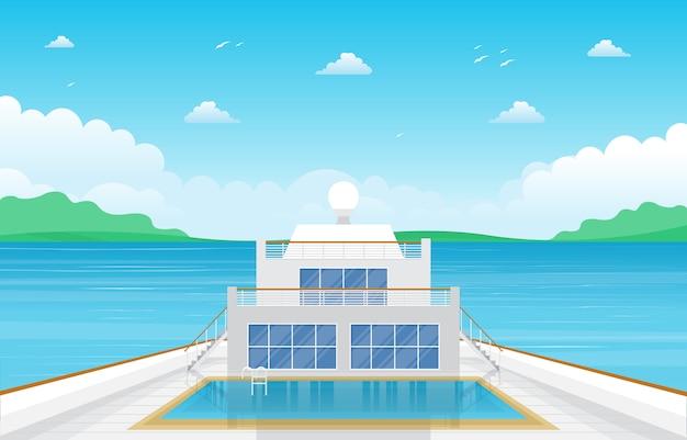 クルーズ船のデッキイラストを海海風景スイミングプール