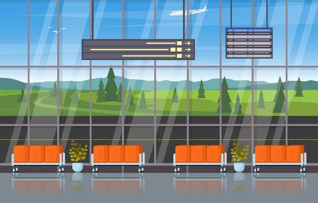 空港飛行機ターミナルゲート待合室ホールインテリアフラット図