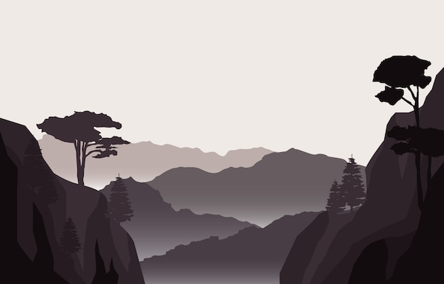 Спокойный горный лес дикая природа пейзаж пейзаж монохромный рисунок