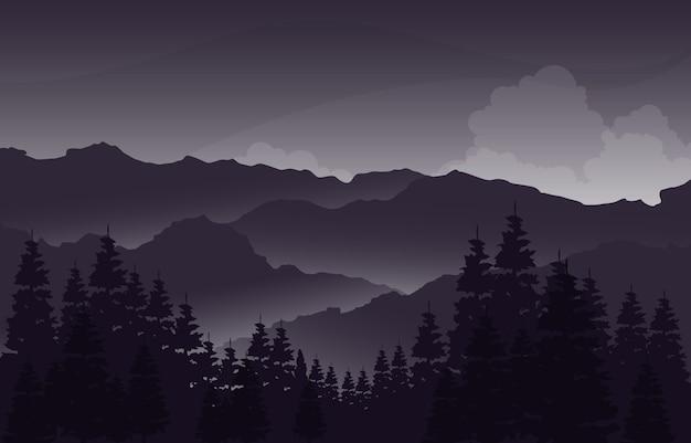 Вечерний спокойный горный лес дикая природа пейзаж монохромный рисунок