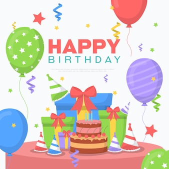 С днем рождения празднование вечеринка воздушный шар подарок баннер открытка